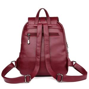 Image 4 - Casual duplo zíper mochila feminina grande capacidade saco de escola para a menina marca couro bolsa de ombro 2018 senhora mochila viagem