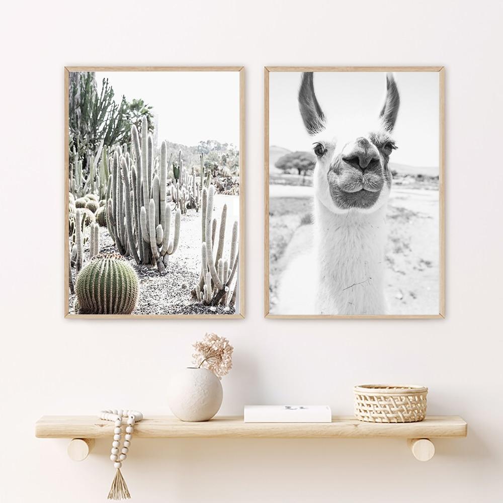 Alpaca Poster Canvas Art Painting Animal Print Wall Art Nursery Decorative Picture Llama Cactus Black White Wall Kids Room Decor