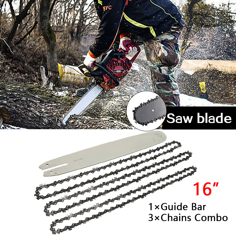 16 Inch Chain Saw Guide Bar With 3pcs Semi Chisel Chains 3/8LP 050