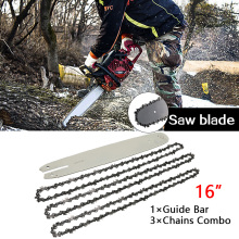 "16 Inch Chain Saw Guide Bar With 3pcs Semi Chisel Chains 3/8LP 050"" For STIHL 009 012 021 E180 MS180 MS190"