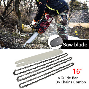 """Image 1 - 16 Inch Chain Saw Guide Bar With 3pcs Semi Chisel Chains 3/8LP 050"""" For STIHL 009 012 021 E180 MS180 MS190"""