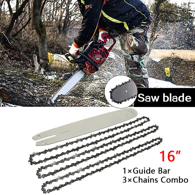 """16 Inch Chain Saw Guide Bar With 3pcs Semi Chisel Chains 3/8LP 050"""" For STIHL 009 012 021 E180 MS180 MS190"""