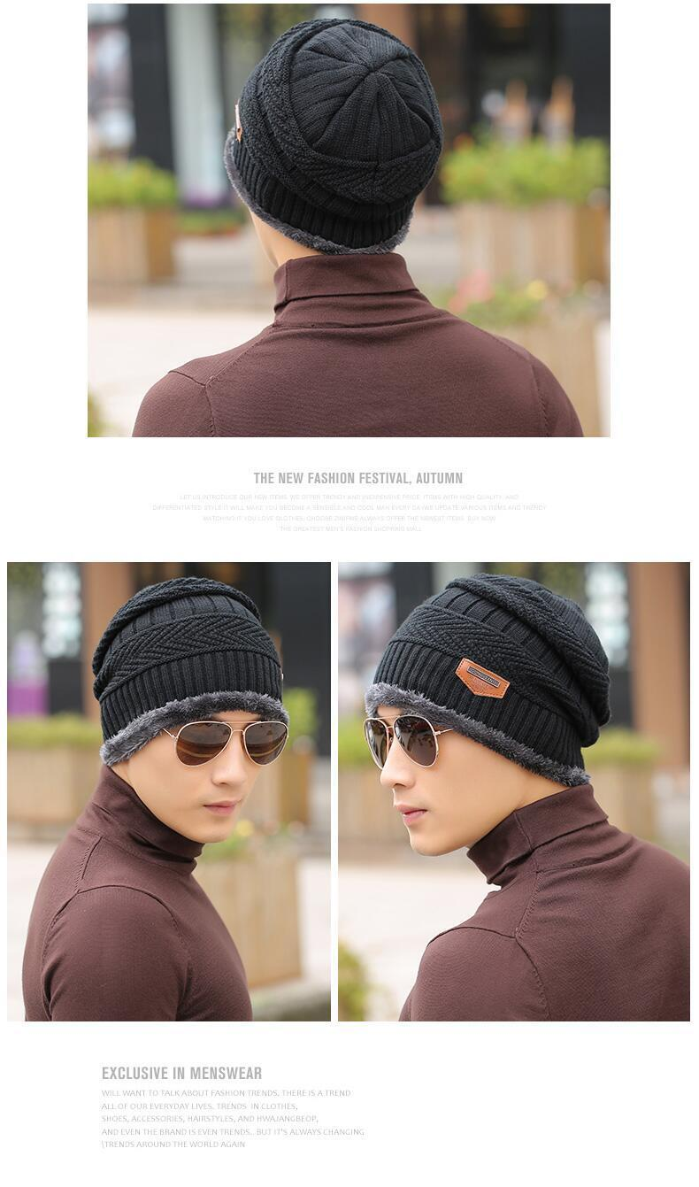 H75e77adc8eb84dd8970a250aded441faq - Neck warmer knitted hat scarf set fur Wool Lining Thick Warm Knit beanies balaclava Winter Hat For men women Cap Skullies bonnet