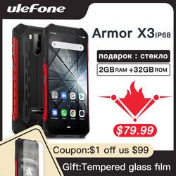 Ulefone Armor X3 прочные телефоны IP68/IP69K водонепроницаемый 5,5 дюймов 2 ГБ 32 ГБ 8MP 5000 мАч Лицо ID Android 9,0 3g двойной SIM смартфон