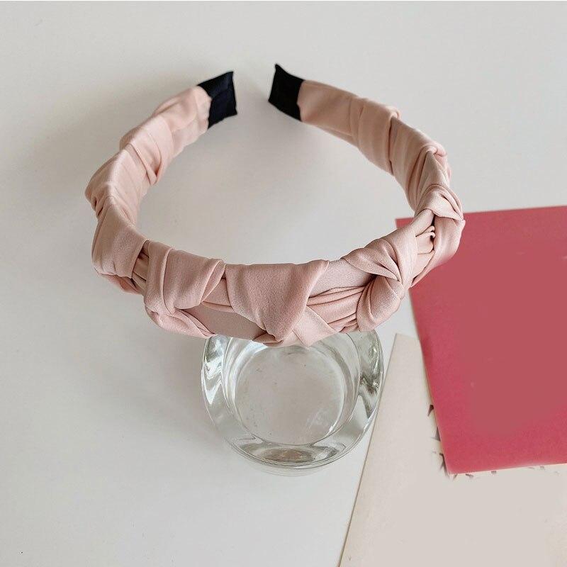 Купить плиссированный однотонный обруч для волос плетеная повязка на