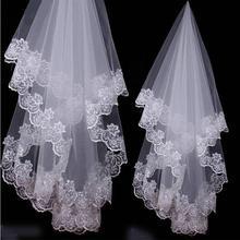 Высокая Qulity Свадебные Аксессуары Короткие Белые Цвета Слоновой Кости Один Слой Фата С Аппликацией Края Шнурка Невесты