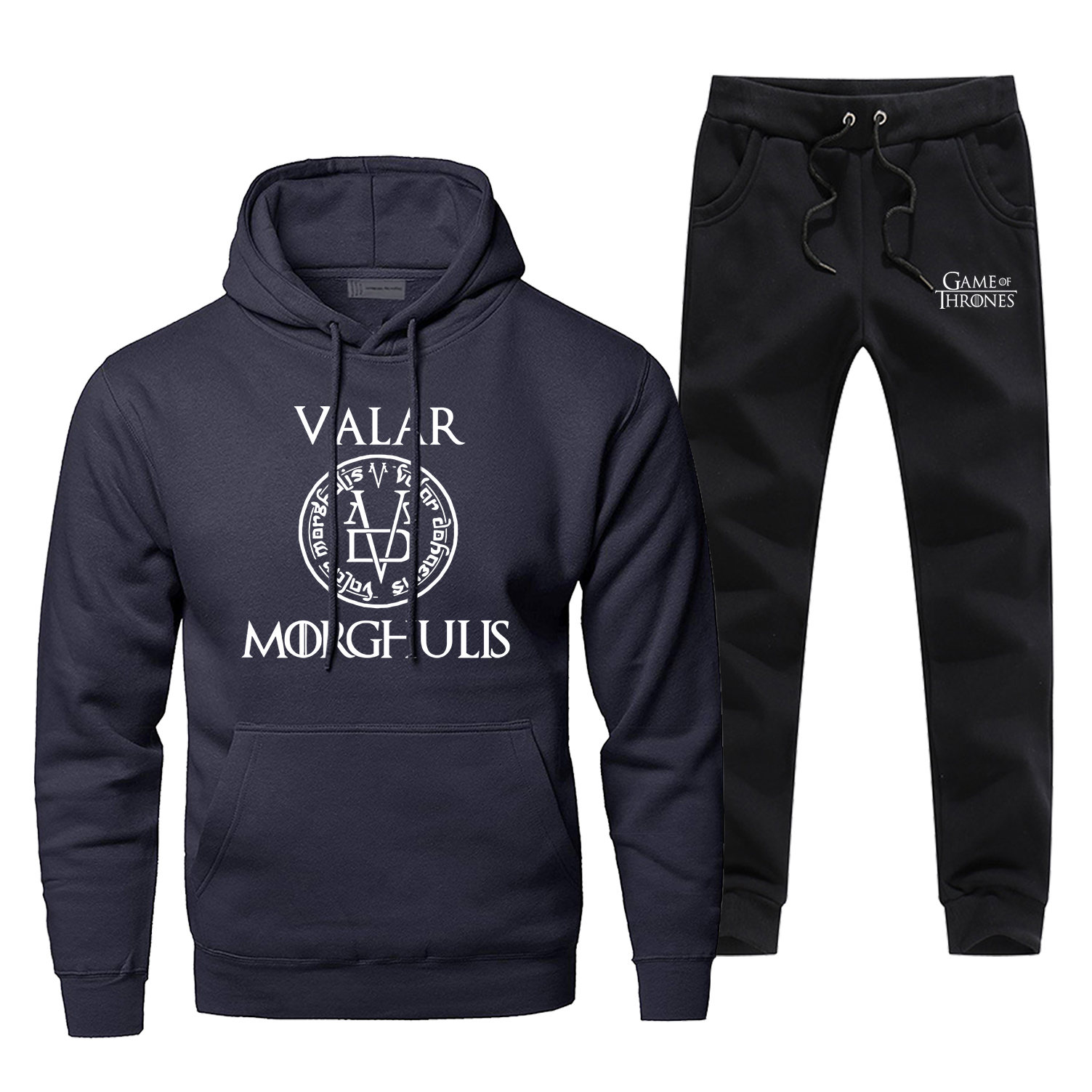 Valar Morghulis Game Of Thrones 2 Piece Set 2019 New Fashion Mens Sets Warm Complete Man Tracksuit Fleece Arya Stark Hoody Pants