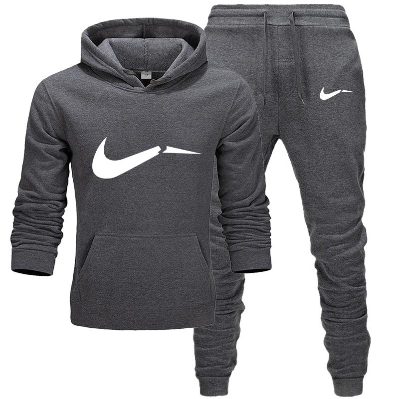 New 2019 Brand Tracksuit Men Thermal Underwear Men Sportswear Sets Fleece Thick Hoodie+Pants Sporting Suit Broken Nikes M-XXL