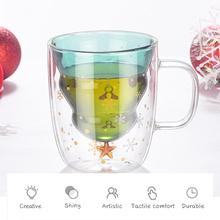 Christmas Tree Star Wish Cup Coffee Mugs Creative Heat Resistant Double Wall Glass Drinking Glasses Tea/Milk/Juice