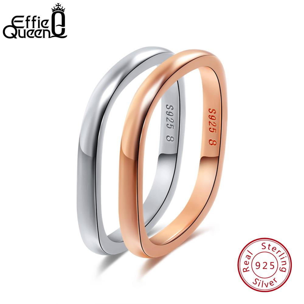 Effie Queen S925 Sterling Silver Rings For Women Simple Square Design Wedding Finger Ring For Female Fashion Fine Jewelry TSR49