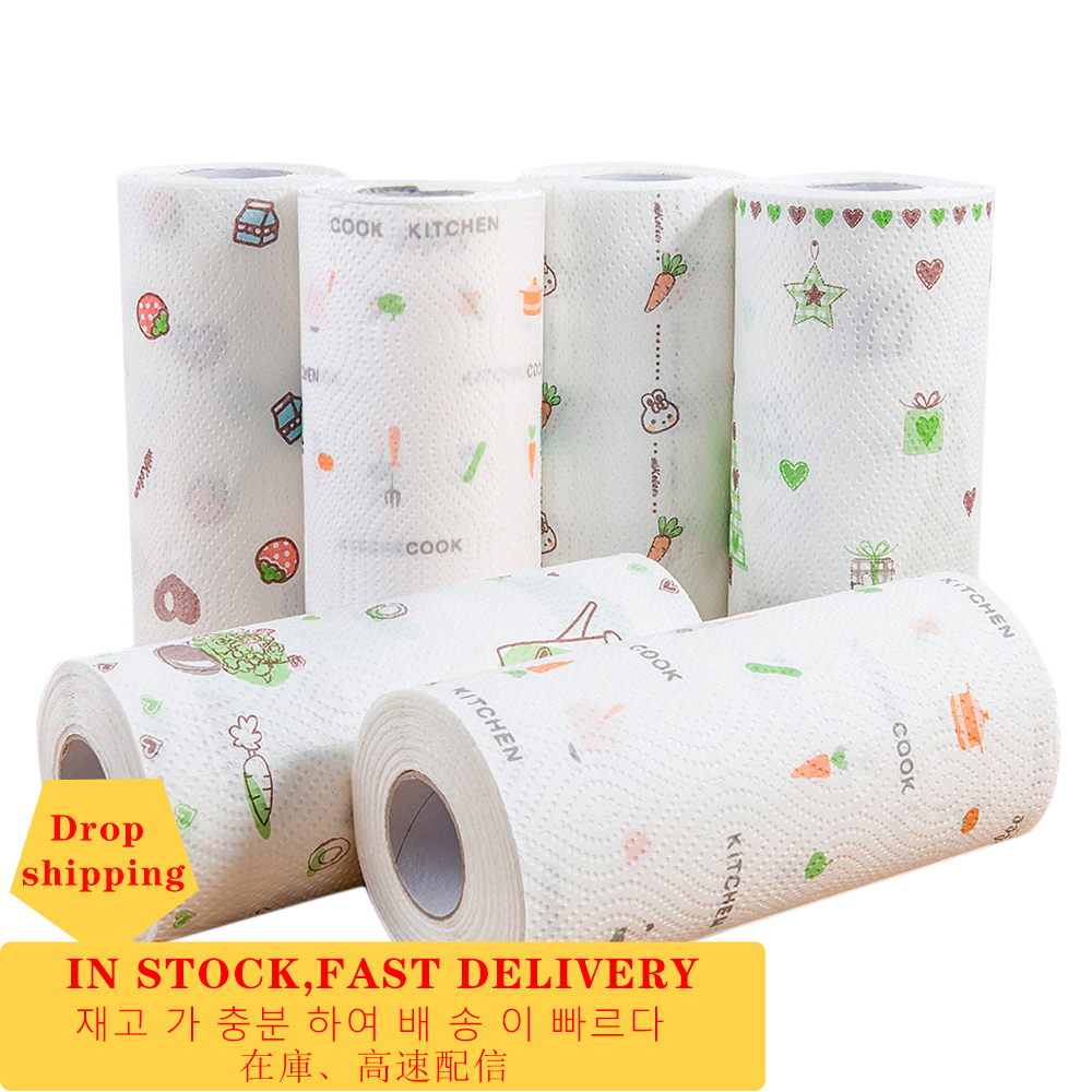 Natural Wood Disposable Household Kitchen Towels Wiping Paper Towel Stand Holder Wash Cleaning Tissue Roll Print Kitchen Paper