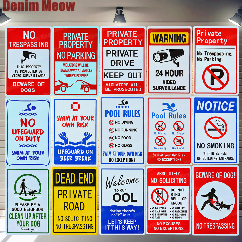 Pool Rules Signs No Diving No Running No Food No Glass Metal Tin Signs Warning Sign Easy Mounting Indoor Or Outdoor Use ZSS9