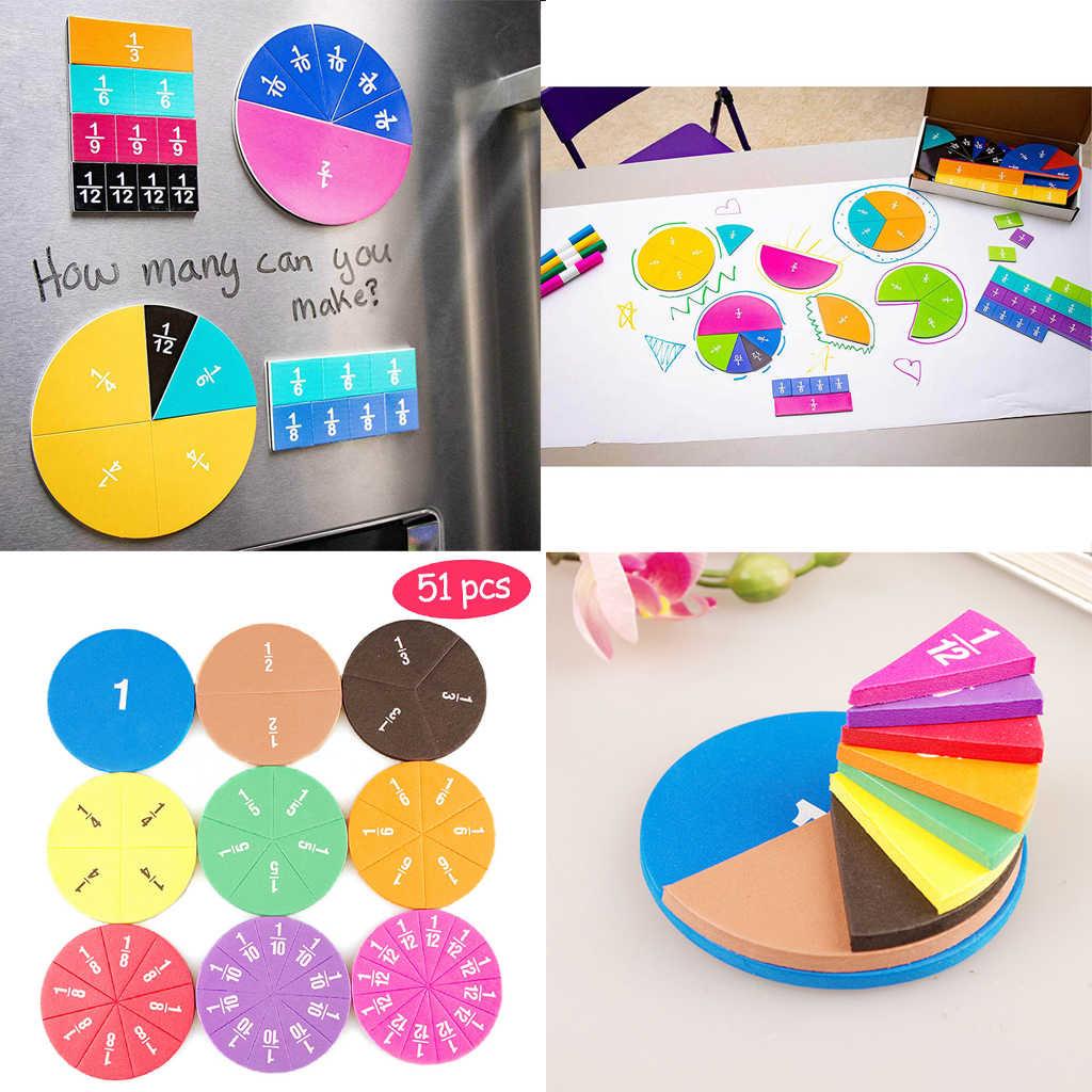 51Pcs Magnetische Ronde Fracties Card Speelgoed Vroege Onderwijs School Aids Speelgoed Gift