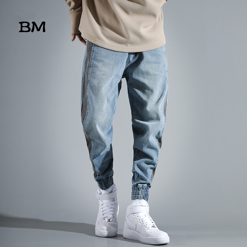 Mens Jeans With Side Stripes Korean Style Clothes Harajuku Fashions Dsq Skinny Jeans Men Streetwear Denim Blue Biker Jeans