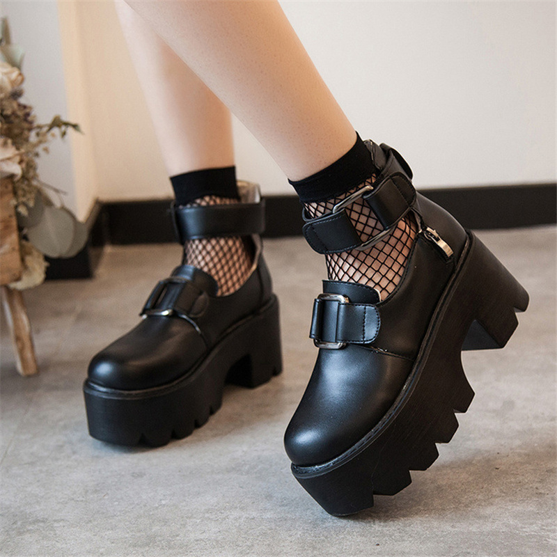 Leather Platform Shoes Women Spring Autumn 2020 New Arrival Designer Black Fashion Ladies Flats Shoes Woman Harajuku Big Shoes