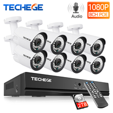 Sistema de grabación de Audio Techege 8CH 1080P CCTV 2MP PoE kit cámara IP 3000TVL Metal impermeable sistema de cámaras de seguridad de visión nocturna