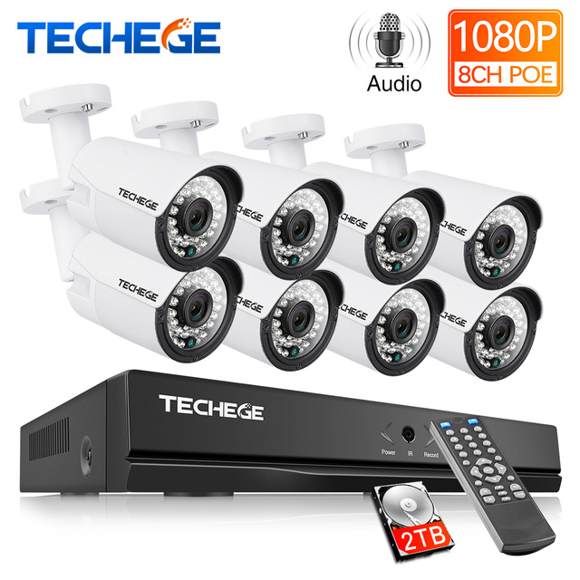 Techege 8CH 1080P system cctv zapis Audio 2MP PoE zestaw kamera IP 3000TVL Metal wodoodporna Night Vision system kamer bezpieczeństwa