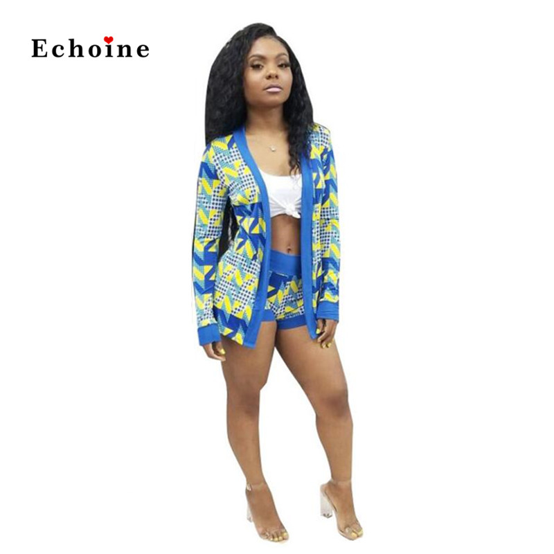 Echoine Modern Women 2 Pcs Set Casual Printed Tops Long Sleeve High Street Suit Short Pants Sport Wear Female Outfits Tracksuits in Women 39 s Sets from Women 39 s Clothing