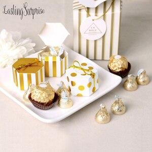 Image 2 - 5 Mini Sọc Vàng Chấm Bi Tặng Hộp Lục Giác Cưới Chocolate Hộp Gel Hộp Kẹo Làm Bánh Gói Trang Trí Tiệc Cưới