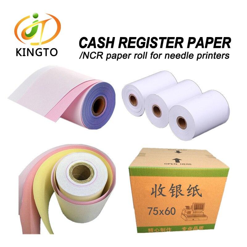 75*60mm 3ply NCR Paper Roll Dot Matrix Printer For Cash Register Papers