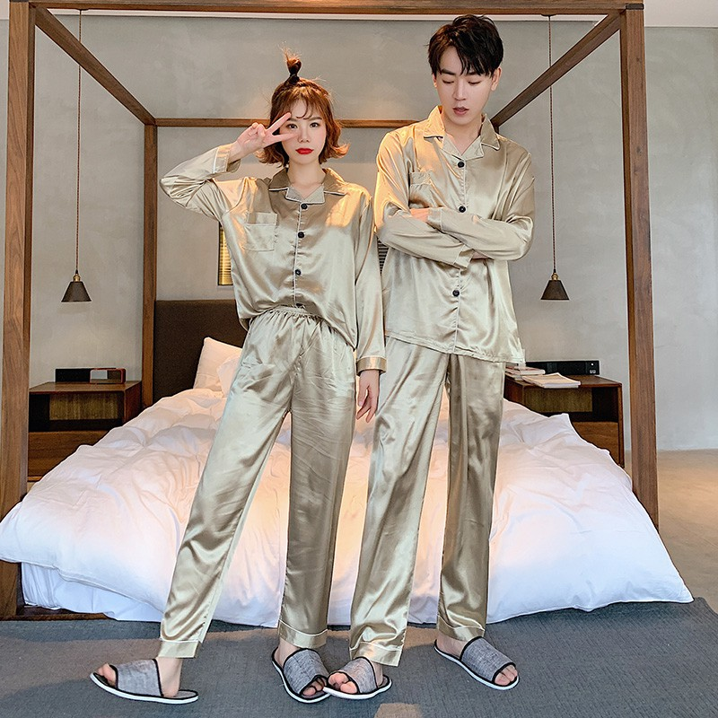 Lovers Couples Spring Summer Autumn Men Satin Silk Pyjamas Sets Of T-shirt & Shorts Male Pijama Sleepwear Leisure Home Clothing