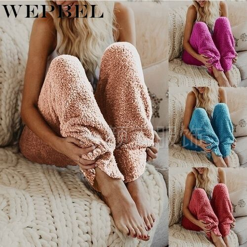 WEPBEL Women Pants Fleece Harem Loose Casual Full Length Warm Autumn Winter Fashion Solid Color Ladies Long Trousers