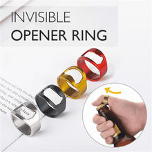 Invisible Stainless Steel Opener Thumb Finger Ring Creative Novelty Design Bottle Opener Soda Beer Outdoor Tool#p4(China)