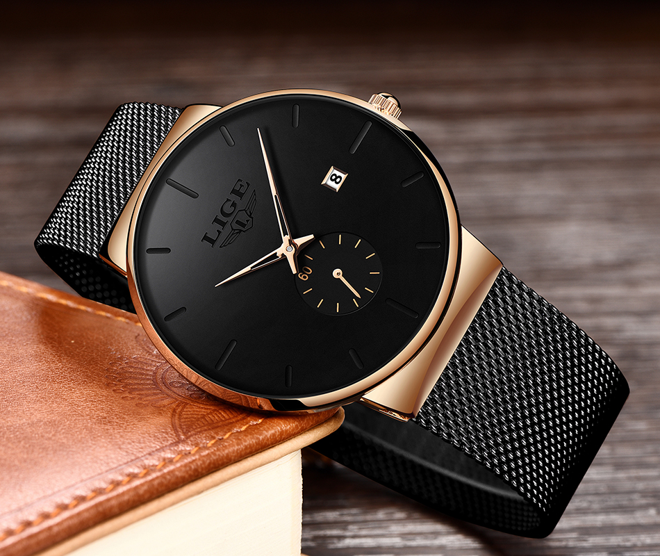 H75e90d1bce044526b7352c66f8a545edy New LIGE Mens Watches Casual Fashion Gift Men Watch Business Waterproof Quartz Watch Full Steel Clock Relogio Masculino+Box