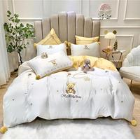 30 80s Austrian Lenzing Tencel bedding set high density high end embroidery Bed set Duvet Cover Bed Sheet Luxury palace style