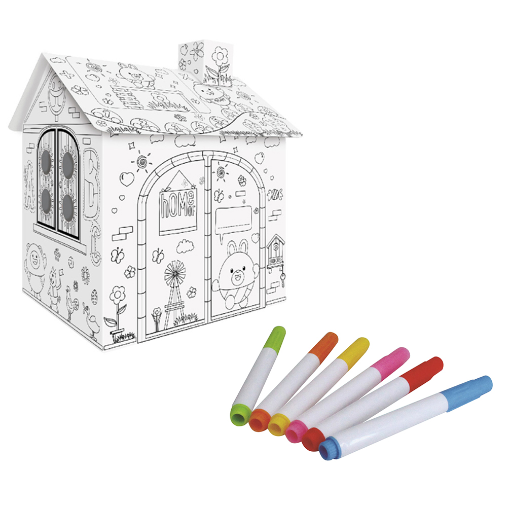 Child Drawing Toy DIY Coloured Graffiti House With 6 Color Pen Hand-painted Doodle Paper House Kids Early Education Toys