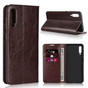 Image 1 - الطبيعي جلد طبيعي الجلد محفظة قلابة كتاب غطاء إطار هاتف محمول على لسامسونج غالاكسي A20 A30 A50 A30S 2019 A 20 30 50 S 32/64 GB