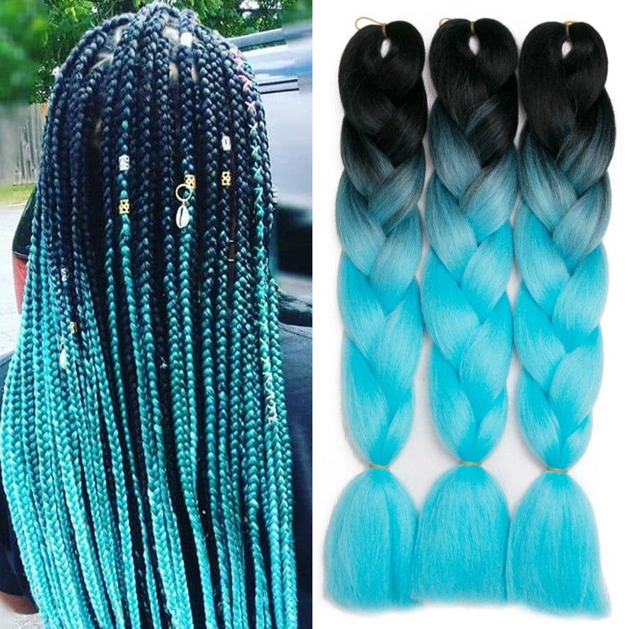Ombre sentetik örgü saç uzatma tığ örgüler için 24 ''100g Jumbo örgüler iki ton Ombre renk pembe siyah mavi Ombre