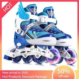 Skates Beginners Adjustable Children's of for Boys And Girls Full-Set Single-Flash