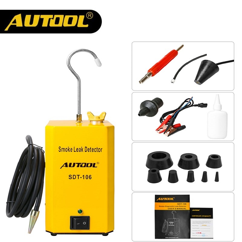 AUTOOL New SDT106 Car Smoke Machine Leak Detector Automotive EVAP Gas Leakage Locator Oil Pipe Generator Diagnostic Tool