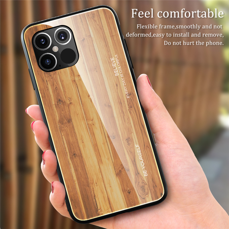 New Luxury Liquid Silicone Wood Grain Wooden Case For iPhone 12 Pro Max 2