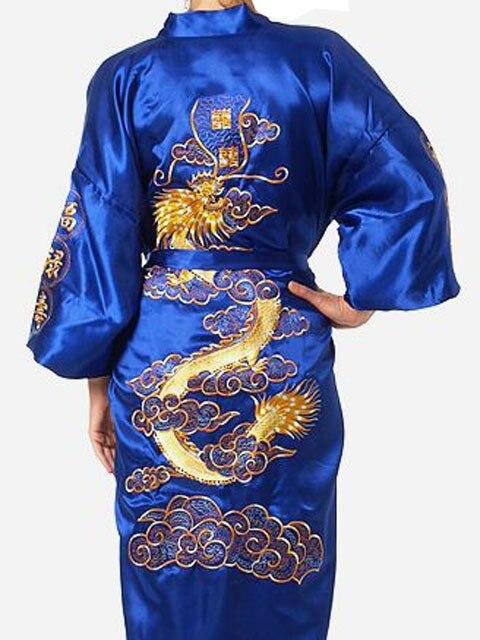 FZSLCYIYI Chinese Men Silk Satin Robe Novelty Traditional Embroidery Dragon Kimono Yukata Bath Gown Size M L XL XXL XXXL