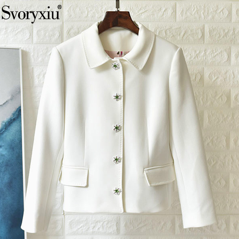 Svoryxiu 2019 Luxury Runway Autumn White Jackets Coat Women's High Quality Print Lining Lily Flower Single-Breasted Jackets Tops