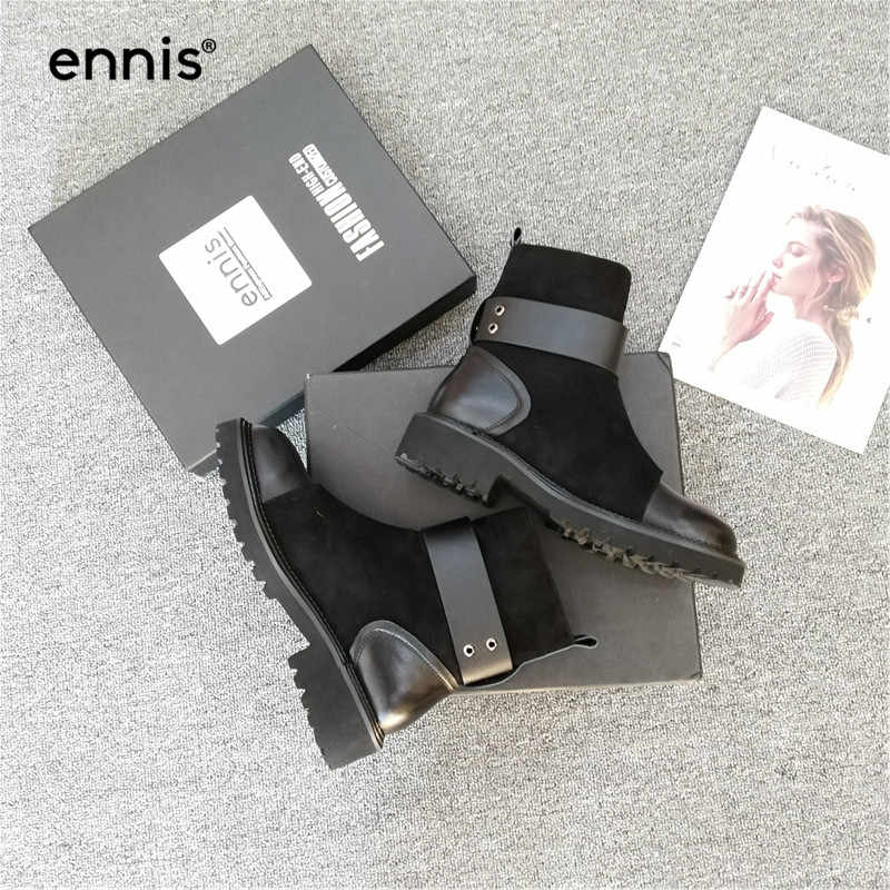ENNIS 2019 jesienne botki damskie buty z prawdziwej skóry