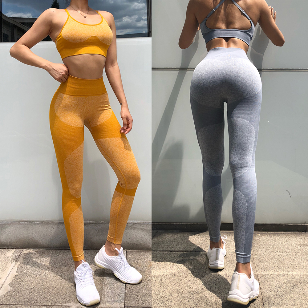 2 Piece Yoga Set Sports Bra And Leggings Jogging Women Gym Set Clothes Seamless Workout Sports Tights Women Fitness Sports Suit
