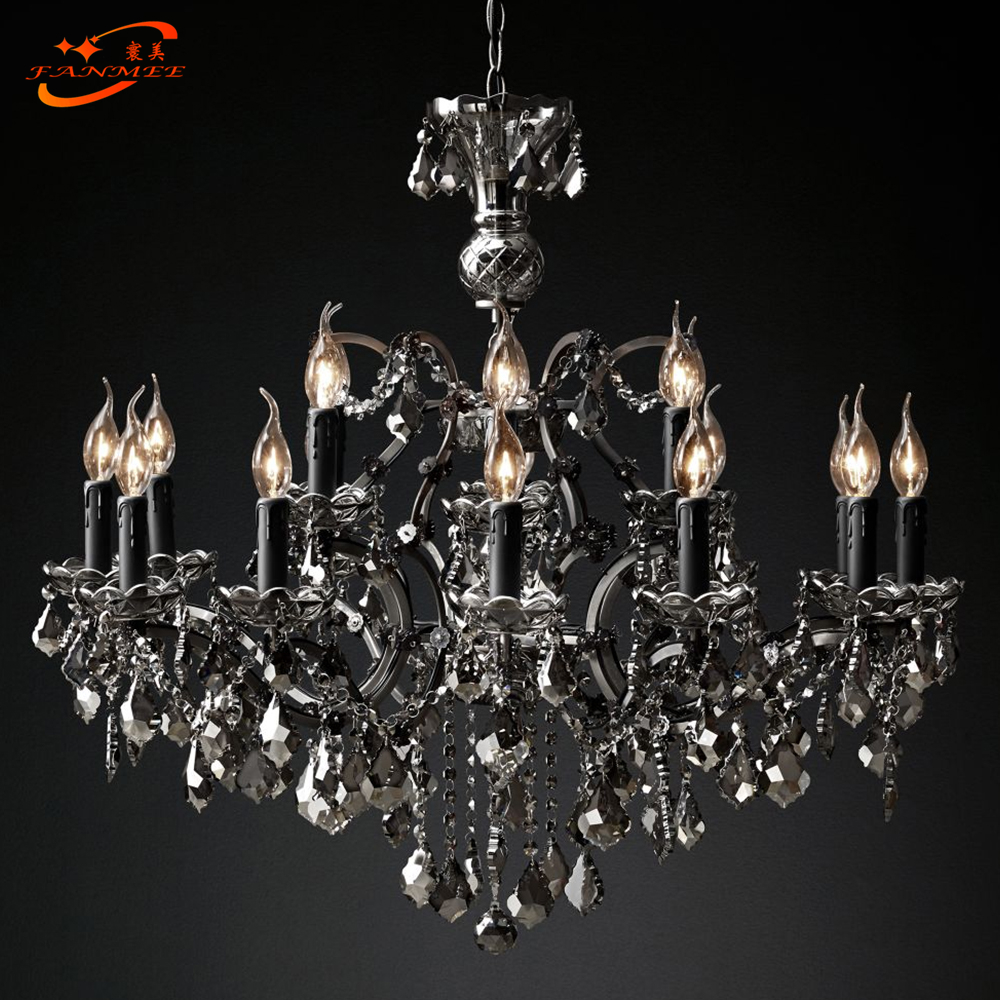 19th C. Rococo Iron & Crystal Chandelier Lighting Modern Retro LED Chandeliers Pendant Lamp Hanging Light for Living Dining Room