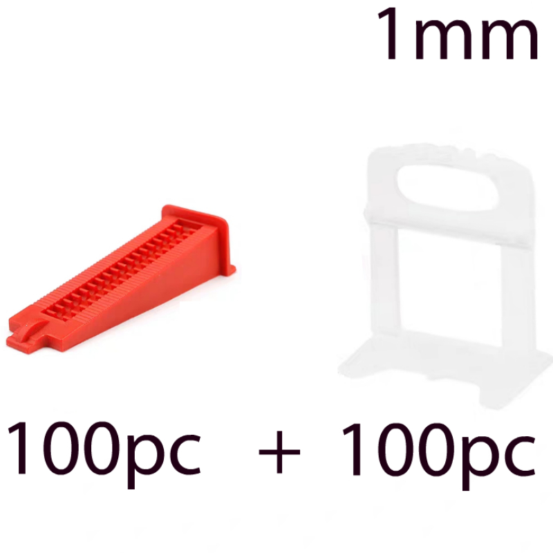1 Mm Tile Leveling System Tools Floor Wall Flat Leveler Plastic Spacers 100pcs+100pcs  Wedges Building Installation Tools Kit