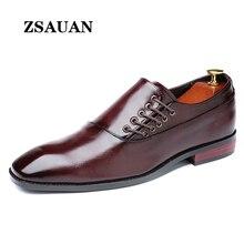ZSAUAN Retro para hombre, mocasines de cuero PU de gran tamaño, zapatos de vestir Vintage para hombre, zapatos de boda con punta puntiaguda para hombre