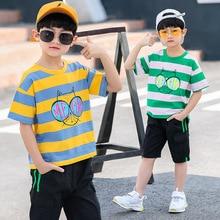 2019 New Boys Cartoon Striped T Shirt + Shorts Pant 2pcs Sets Tracksuit Casual Kids Sport Suits Summer Clothing