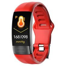 ECG + PPG P11 Pulseira Inteligente Rastreador De Fitness Relógios de Freqüência Cardíaca Pressão Arterial Dispositivos Wearable Bluetooth À Prova D Água