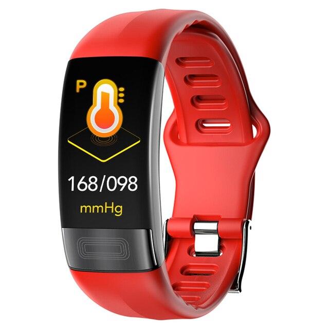 P11 ECG + PPG سوار ذكي جهاز تتبع معدل ضربات القلب لأغراض اللياقة البدنية ساعات ضغط الدم بلوتوث مقاوم للماء أجهزة يمكن ارتداؤها