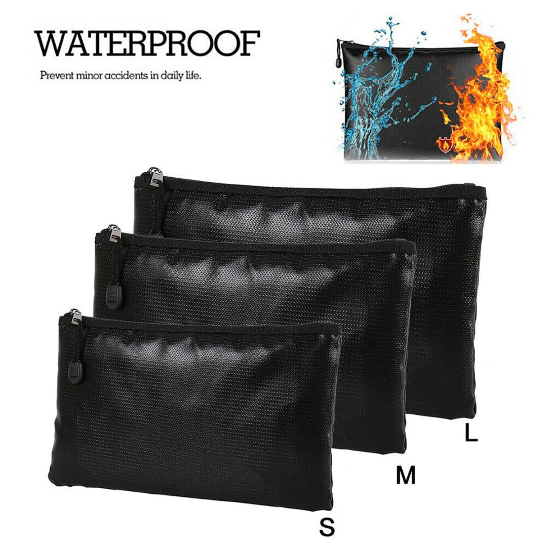 Portable Fireproof & Waterproof Document Envelope File Folder Cash Pouch Money Safe Bag For Home Office S/M/L