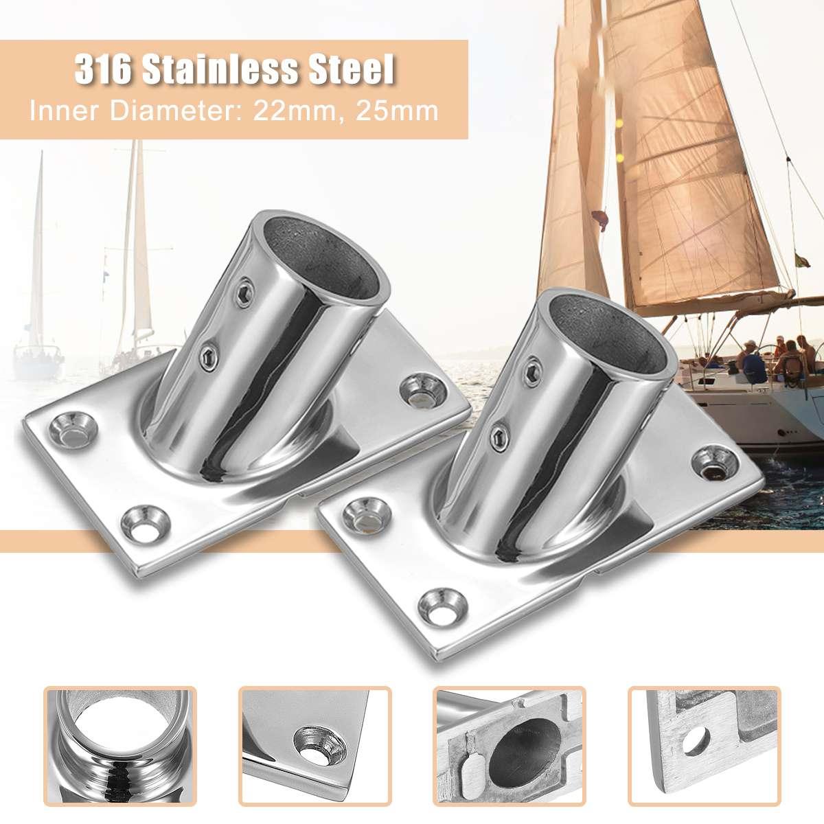 316 de aço inoxidável barco tubo tubo marinho 60 ° corrimão corrimão tubulação base montagem suporte 22mm/25mm reusável marinho ferragem