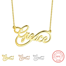 Personalized 925 Sterling Sliver Name Necklaces Charm Gold Pendant Customized Name Fashion  Jewelry Promised Gift for Women