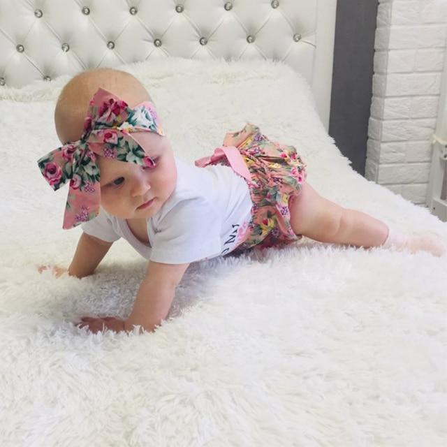 3PCS Newborn Baby Girl  Outfit Summer Clothes Set Floral Romper Jumpsuit tops +Tutu Shorts Pants Dress+ Bowknot Headband D30 | Happy Baby Mama