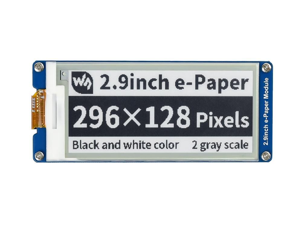 2.9inch E-Ink Display Screen 296x128 E-Paper Module SPI Support Partial Refresh Ultra Low Power Consumption Wide Viewing Angle